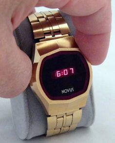 https://flic.kr/p/FeM9yg | Vintage Novus Men's Electronic Digital Wrist Watch, Red LED Display, Original Band, Swiss Made Case, Circa 1970s