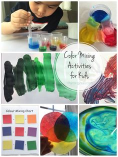Montessori color mixing activities! My 3 year old and I experimented with several ways of color mixing. Plus get a lovely roundup of all the other ways you can explore color mixing.