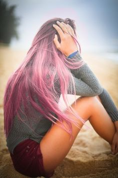 Sweater  for fashion girls.pink hair chalk  #purple  #hair  #chalk www.loveitsomuch.com