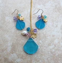 Stunning Ocean Aqua Shell Seaglass Necklace Earring by InaraJewels, $48.95