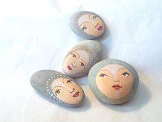 4 Painted stones Beach stone art  Original art work by sabiesabi,
