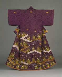 Woman's Kimono (Kosode) with Plank Bridges (Yatsuhashi), Irises, and Butterflies Japan, Late Edo period, 1615–1868; Meiji period, 1868–1912, 19th century; Silk damask with silk and gold metallic thread embroidery (LACMA)