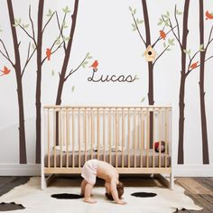 tree wall decal with leaves birds personalized name simple shapes wall