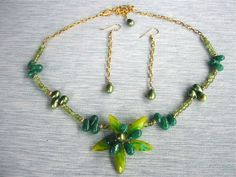 Gemstone and art glass wire-wrapped flower necklace