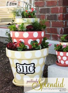 Flower pot and house number.. could be cute gift idea. FINALLY A GOOD SOLUTION THAT WONT COST A FORTUNE (like those ugly #s and signs at Lowes)!!!!!