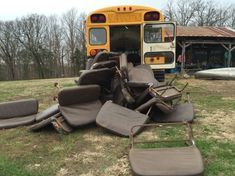 The first step for me was removing the bus seats. This took some figuring out at first because the seats were bolted through the floor of the bus, with the bolt heads on the top side of the floor a… School Bus Tiny House, Magic School Bus, School Buses, Bus Living, Living On The Road, London England, Bus Remodel, Converted School Bus, Rv Bus
