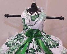 Dog Dress green with White