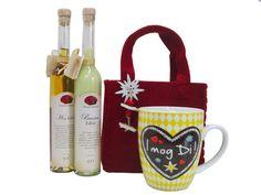 Gourmet Berner Likörset Geschenkset mit Tasse in roter Filztasche