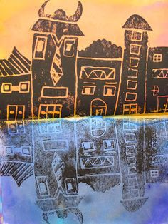 Lines, Dots, and Doodles: City Prints/Reflections, Grade Reflection Math, Color Art Lessons, 5th Grade Art, Fourth Grade, Warm And Cool Colors, School Displays, Student Drawing, Building Art, Art Lessons Elementary