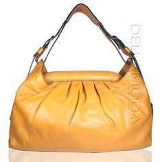 This is a very sunny yellow handbag from Fendi, this hobo bag can be carried on the shoulder and appears to be sturdy.