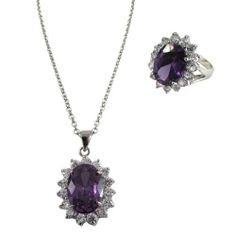 """Dark Purple and White CZs Silver Rhodium Overlay Womens Necklace Pendant and Right Hand Ring Size 8 Set Rich Chic Jewelry. $63.70. Purple and White CZs. Size 8. Pendant 1"""" Length, .63"""" Width. Free Jewelry Pouch Included. Silver Rhodium Overlay"""