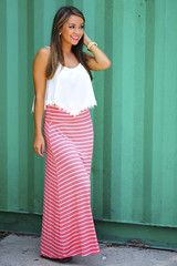 The Stripe Side Maxi Skirt: Bright Coral