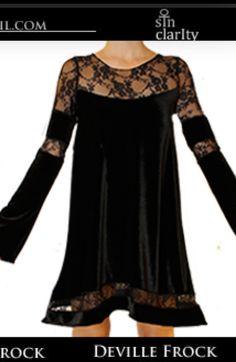 Black Velvet Black Lace Bell Sleeve Fall Frock Sin Clarity Dress