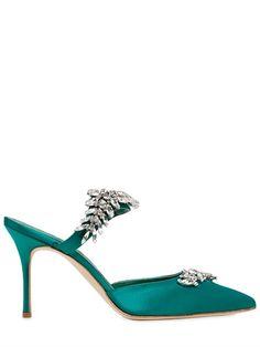 satin emerald green manolo blahnik shoes
