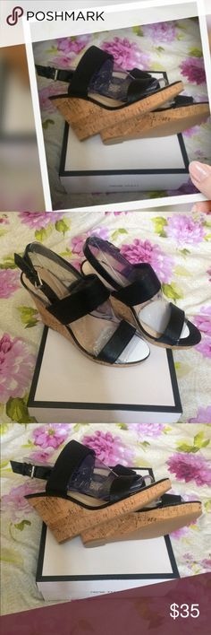 Nine West Lucini Cork Wedges 10 Medium (B,M) Wedge Sandals Collection: Nine West Shoe Width: Medium (B, M) Heel Height is 4 1/4 Inches Platform Height is 1 1/4 Inches Buckle Closure, Faux Leather, Patent Trim. Bundle for discounts! Reasonable offers considered. Thank you for shopping my closet! Nine West Shoes Wedges