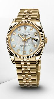 Yellow Gold Datejust 36mm white mother of pearl  http://www.rolex.com/en#/rolex-watches/women-datejust36/datejust-36mm-yellow-gold-m116238-0062