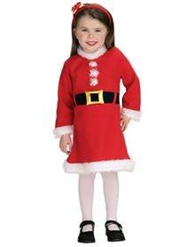 Lil Miss Santa Toddler Costume. Sugar 'n spice and everything nice - it's all cute for Christmas with this darling Lil Santa Girl costume. Pose pretty for the family portrait or annual Christmas card; perfect for the holiday. Price: $34.99