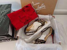 NWB CHRISTIAN LOUBOUTIN Tiny 100 Leo Chiffon/Patent Spec Black/Gold Shoes 37.5 #ChristianLouboutin #OpenToe