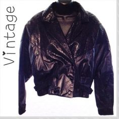 """Rare Vintage Black Leather Snake Moto Jacket 80s G-III - So awesome! Rare 80s vintage black leather & python look Moto jacket, size ladies Large. Excellent condition! Double breasted, snaps in front & at cuffs, and waist straps. Built in shoulder pads. 2 diagonal slide in pockets at sides. Bust approx 46"""" bat wing style. Waist 38"""", sleeves approx 21"""", length 23"""". Vintage Jackets & Coats"""