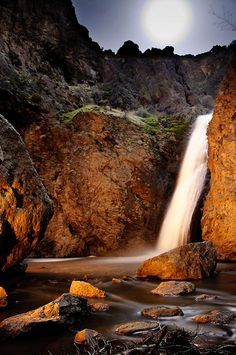 Night in Jump Creek Falls Boise, Idaho. Wild Mustang herd, waterfalls, day use only. Possible hiking spot??-SR