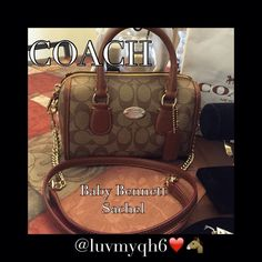 """🎃🆕🎉HP 8/1🎉AUTH COACH BABY BENNETT Final Price! It's a Authentic Coach Baby Bennett Sachel!! Measures 8""""L x 3""""W x 5"""" so easy to carry by hand, handles have an approximate drop of 3"""", over the shoulder or as a cross body detachable strap drop of 21.5"""" or 41"""" in length. crossgrain leather and signature canvas is two tone color Khacki /Saddle. The front features a gold plated Coach plaque. Final Price! Coach Bags Satchels"""