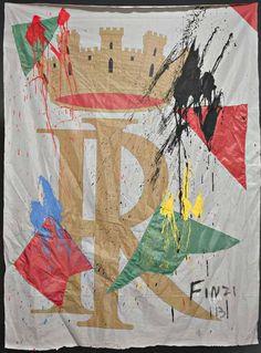 """Ennio Finzi, """"Senza titolo"""", tecnica mista su bandiera, cm 169x127, dal catalogo della mostra """"Novanta artisti per una bandiera"""", ©2013 corsiero editore"""