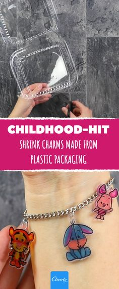 Everyone throws this away instead of putting it in the oven. Three minutes at 330 °F and this shrinking wonder will amaze you! #childhood #shrink shrinking #charms #plastic #diy #toy #children #memorylane