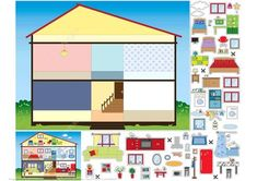 House Paper Collage from Paper Collage category Hundreds of free printable papercraft templates of origami cut out paper dolls stickers collages notes handmade gift boxes with do-it-yourself instructions Paper Doll House, Paper Houses, Cardboard Crafts, Paper Crafts, Toy Craft, Creative Teaching, Printable Paper, Paper Toys, Diy Toys