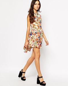 Fallen Star | Fallen Star Dress With Dip Back In Butterfly Floral Print at ASOS