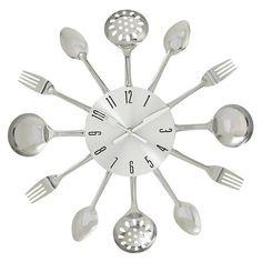 DecMode Metal Kitchen Utensils Wall Clock - 15 diam. in. - 66985