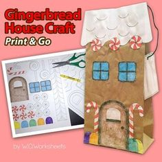 Gingerbread House Paper Bag Craft Craftivity perfect for winter, December or Holiday activities. Works well with any Gingerbread Unit or Gingerbread Man story. Design your own gingerbread house using pattern and clip art including candy canes and gingerbread men.