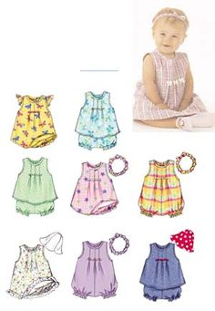 A-line dress or top has front pleats and back snaps. A: armhole ruffle. A,C,D: stitched hem. B: ruffles. Romper has front pleats, elastic leg, back snap closing and snap crotch. Panties have elastic waist and leg. Self- lined hat. Headband has elastic and bow. $10.95