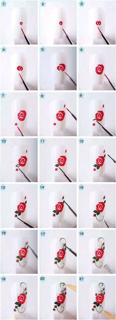 Effect art tutorials How to Make Floral Nail Art tutorial floral nail art 4 Rose Nail Art, Floral Nail Art, Nail Art Diy, Diy Nails, Rose Art, Nail Nail, Diy Rose Nails, How To Nail Art, Polygel Nails