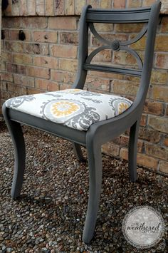 Vintage chair by The Weathered Cottage {www.facebook.com/TheWeatheredCottage} in Austin, TX. Chalk Paint® Decorative Paint by Annie Sloan in Coco and Graphite & ikat seat. Available now!