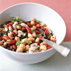 Three-Bean Salad Recipe Side Dishes, Salads with cannellini beans, garbanzo, kidney beans, celery ribs, purple onion, Italian parsley leaves, fresh rosemary, fresh lemon juice, extra-virgin olive oil, kosher salt, black pepper