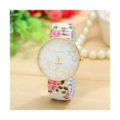 500f5f695206f ... Woman Girl Black Band Watch Listed for charity. See more. Floral Teen  Gift White Fashion Wristwatch Roses Geneva Girl Flowers... ❤ liked on