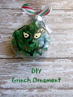Diy grinch ornament make this with a mixture of pledge floor care diy grinch ornament make this with a mixture of pledge floor care finish glitter poured inside of the clear ornament the eyes and everythin solutioingenieria Gallery