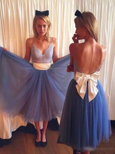 56fa24646f Buy Dramatic V-neck Open Back Tea-Length Blue Homecoming Dress with Lace  Beige