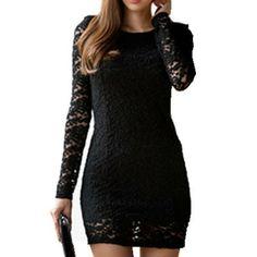 2014 New Fashion Summer Long Sleeve Bodycon Sexy pencil club vintage elegant desigual Evening party Mini black lace Dress US $10.96