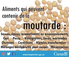 Si vous êtes allergique à la moutarde, ou connaissez quelqu'un qui l'est, faites attention à ces produits qui contiennent souvent de la moutarde. Mayonnaise, Pesto, Sauces, Les Allergies, Cereal, Eggs, Breakfast, Food, Pickles