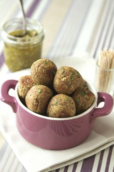 "Lentils ""Meatballs"" With Light Pesto - meatless meatballs may sound like an oxymoron, but I don't miss it w/ this substitute"