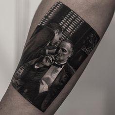 The Godfather tattoo by Inal Bersekov Tattoos Skull, Hand Tattoos, Girl Tattoos, Sleeve Tattoos, Tattoos For Guys, Female Tattoos, Godfather Tattoo, The Godfather, Great Tattoos