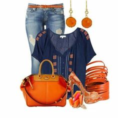 Casual orange and blue