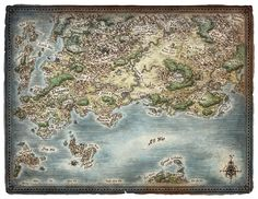 """A poster map of the world of """"Skullkickers"""". Created in collaboration with comic author Jim Zubkavich. Skullkickers World Map"""