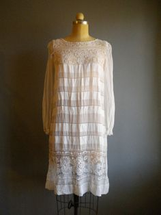 1920's estate white chiffon tea length dress... so pretty with the subtle stripes and lace.....