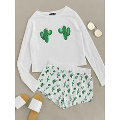 Cactus Print Tee And Shorts Pajama Set (71 BRL) ❤ liked on Polyvore featuring intimates, sleepwear, pajamas, white, white pajama set, white pjs and white pajamas