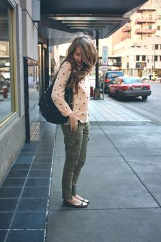 cute dotted rose sweater and khaki pants