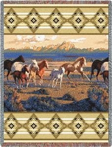 Wild Horses Beige Western Tapestry Throw Blanket