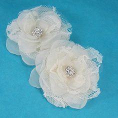 Wedding hair flower set, Ivory, Organza, Lace, Rose hair pin, set  C072 - bridal hair accessory