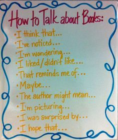 I would use this when the students were having book talks over their realistic fictions books they chose.